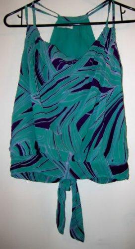 DRESS TOP WOMEN'S S SEXY REVEALING BACK PURPLE GREEN TROPICAL SHEER