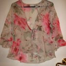 SHEER LADIES SZ 8 WOMEN'S TOP DRESS CLOTHES CLOTHING ROSE FLOWER EASTER