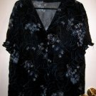 NAVY BLUE SHEER TOP X-LARGE XL WOMEN'S DRESS TOP EASTER SPRING FLOWER FLORAL