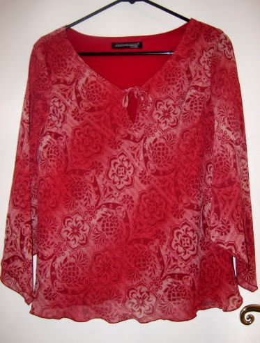 women's red top clothes clothing soft sheer shirt M DRESS OFFICE PATTERN PARTY