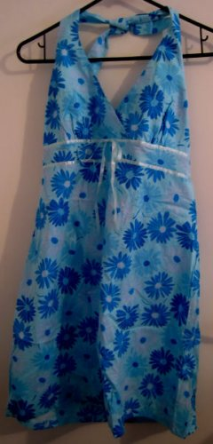 GIRL'S JUNIOR'S 11 13 HALTER BLUE FLOWER DRESS STRETCH CUTE CLOTHES CLOTHING
