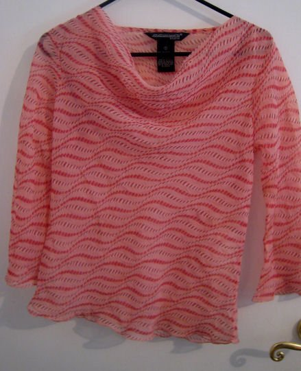SQUIGGLY STRIPED TOP DRESS SHIRT WOMEN'S CLOTHES S SMALL SHEER