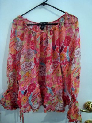 WOMEN'S SZ 18 LARGE TOP SHEER FLOWER FLORAL ORANGE COLORFUL RAINBOW CLOTHES CLOTHING