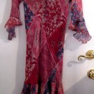 GIRL'S RED BLUE DRESS SZ 16 FLOWY LONG SLEEVE MULTI-PATTER CLOTHES CLOTHING