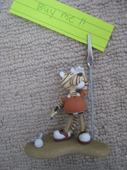 handmade CRAFT ART TIGER GOLF DECORATIVE COLLECTIBLE HOME OFFICE PAPER HOLDER CLIPPER STAND