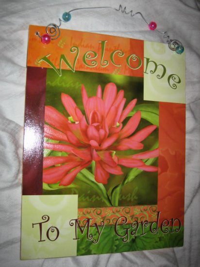 GARDEN FLOWER SIGN PLACQUE PLACK WOODEN WELCOME PLANT SPRING CUTE