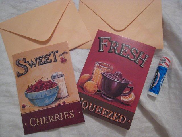 GIFT BIRTHDAY BLANK NOTE CARDS CHERRY ORANGE VINTAGE LOOK ENVELOPE