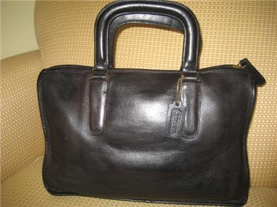 AUTHENTIC COACH legacy BLACK BRIEFCASE COURT OFFICE BAG WOMEN'S LEATHER PURSE GENUINE