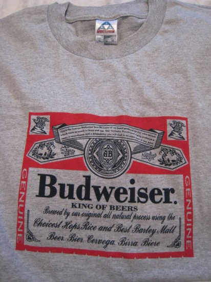 BUDWEISER GRAY T-SHIRT RIBBED COTTON MEN'S XL TOP CLOTHING