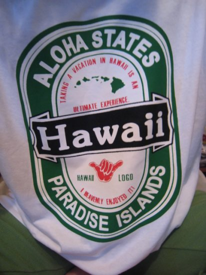 HAWAII ISLAND LARGE L WHITE T-SHIRT SHIRT cool cotton men's women's SLEEP TENNIS HOME COMFORTABLE