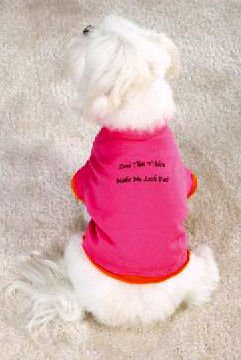 "small dog pink t-shirt shirt clothes clothing DIET WORKOUT ""DOES THIS SHIRT MAKE ME LOOK FAT"" FUNNY"