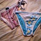 BIKINI BOTTOM LOT 2 L.E.I. JUNIOR'S WOMEN'S G-STRING CLOTHES SWIMSUIT UNDERWEAR STRIPE