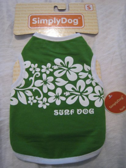 small surf dog t-shirt cotton stretch clothing shirt pet animal tank green hawaii home pets