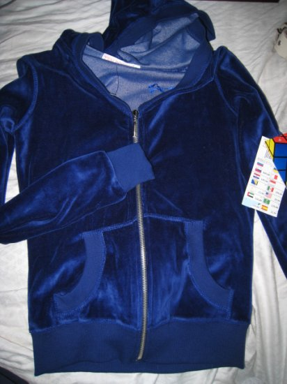 SMALL WOMEN'S SPORTS VELOUR VELVET BLUE ZIP PULLOVER HOODED HOODIE SWEATER SWEATSHIRT CLOTHING $30