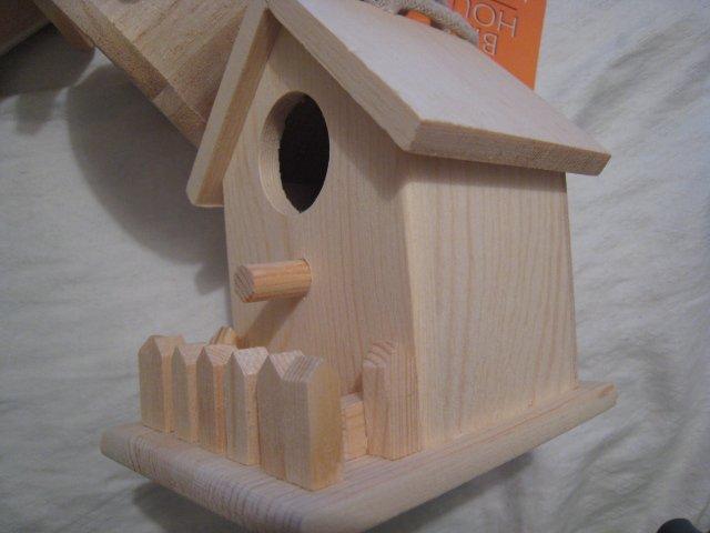 fence NATURAL WOOD WOODEN BIRDHOUSE BIRD HOUSE GARDEN HOME DECOR HOBBY #3
