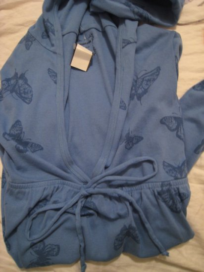 BLUE OLD NAVY BUTTERFLY SHIRT TOP HOODIE V-NECK SWEATSHIRT SWEATER WOMEN'S M MEDIUM
