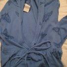 BLUE OLD NAVY BUTTERFLY SHIRT TOP HOODIE V-NECK SWEATSHIRT SWEATER WOMEN'S M MEDIUM