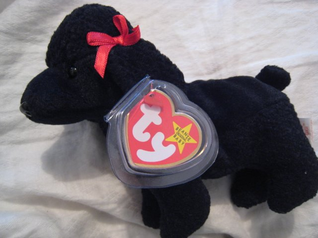 #7 black poodle dog BEANIE BABY DOLL STUFF ANIMAL TOY KIDS CHILDREN HOME GIFT BIRTHDAY