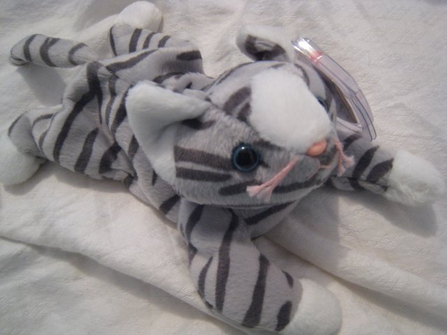 #14 striped blue eyed kitty cat BEANIE BABY DOLL STUFF ANIMAL TOY KIDS CHILDREN HOME GIFT BIRTHDAY