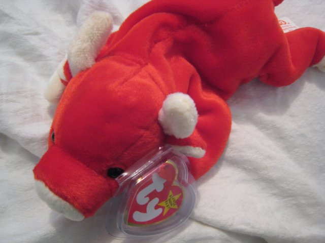 #18 red bull BEANIE BABY DOLL STUFF ANIMAL TOY KIDS CHILDREN HOME GIFT BIRTHDAY