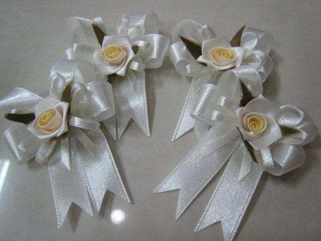 set of 4 RIBBONS BOWS GIFT ART CRAFT WHITE ROSE PIN BROOCH DECORATION wedding