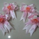 set of 4 RIBBONS BOWS GIFT ART CRAFT PINK ROSE PIN BROOCH DECORATION wedding corsage