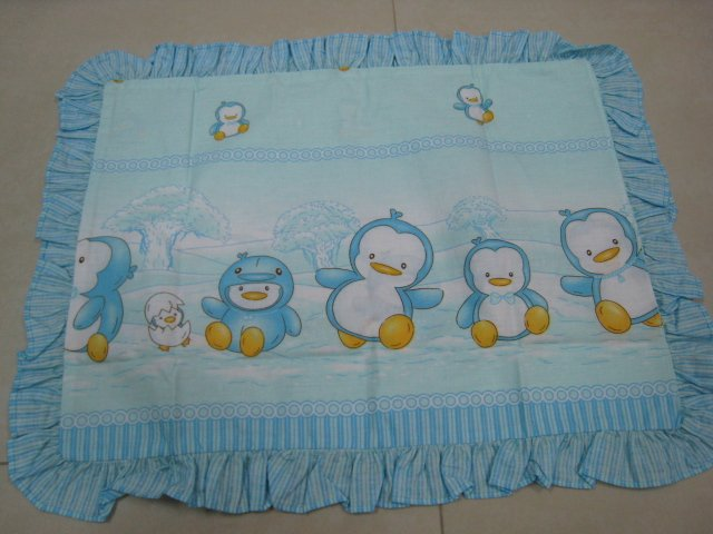 HAPPY PENGUIN KIDS BABY LINEN PILLOW PILLOWCASE SHEET BED BEDROOM COTTON SOFT TRIMMING