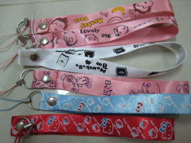 HELLO KITTY MONKEY PIG BEAR HAND strap lot 2 CELL PHONE DIGITAL CAMERA IPOD I-POD STRAP accessory