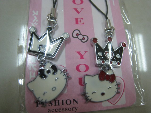 HELLO KITTY HAND strap charm CELL PHONE DIGITAL CAMERA IPOD I-POD accessory PURSE king queen
