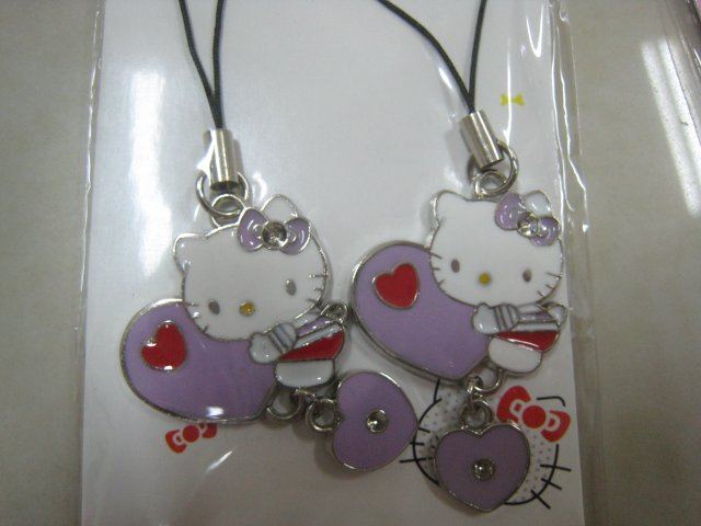 heart HELLO KITTY HAND strap charm CELL PHONE DIGITAL CAMERA IPOD I-POD accessory PURSE