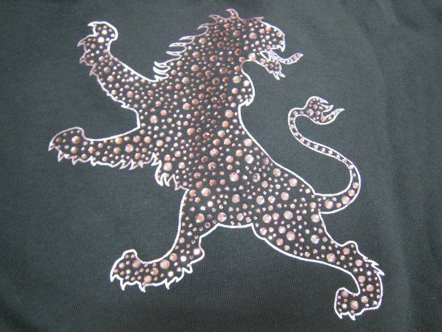 hood EXPRESS silver PRINT DIAMOND LION gray SWEATER SWEATSHIRT CLOTHES WOMEN'S LARGE L CLOTHING