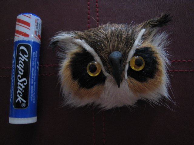 OWL MAGNET FURRY ANIMAL FIGURINE COLLECTIBLE EYES