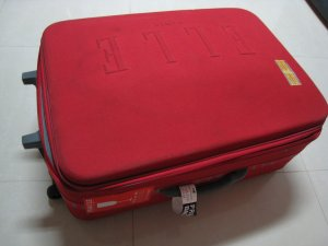 AUTHENTIC RED ELLE PARIS LUGGAGE OVERSIZE ACCESSORY WOMEN'S TRAVEL