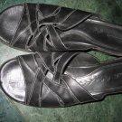 WOMEN'S CLARKS BLACK LEATHER SANDALS SZ 7.5 SHOES HEELS