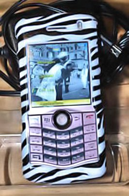 BLACKBERRY PEARL 8130 cell phone FACE zebra CLIP CASE ACCESSORY