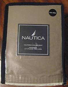 NAUTICA CREME MOCHA creme COTTON SATEEN BEDSKIRT BED SKIRT BEDDING BED SHEET FULL HOME DECOR BEDROOM