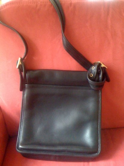AUTHENTIC purse VINTAGE BLACK WILLIS leather COACH MESSENGER FULL BODY BIG BAG GREAT OFFICE #081009B