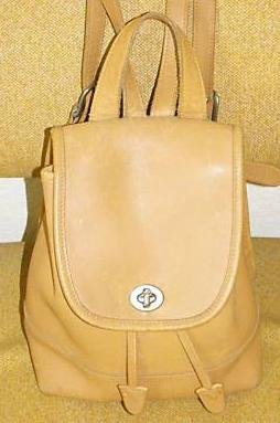 AUTHENTIC purse vintage camel tan leather COACH SHOULDER BAG backpack #082309B