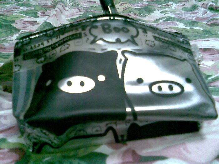 BLACK SILVER CLEAR PIG makeup TRAVEL PURSE PEN bag women's accessory gift beauty products