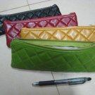 yellow PURSE WALLET LEATHER LIKE cushion TEXTURE phone makeup pencil case WOMEN'S ACCESSORY CHECKER
