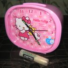pink round standing hello kitty ALARM CLOCK NIGHT LIGHT GIFT KIDS ROOM HOME DECOR COLLECTIBLE