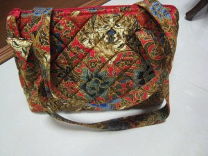 FASHION FABRIC HANDBAG BAG PURSE PATTERN BATIK RED FLOWER PRINT ART WOMEN'S BASKET STYLE BOW