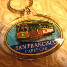 C - SAN FRANCISCO cable car PLASTIC CLEAR KEYCHAIN SOUVENIR ACCESSORY COLLECTIBLE DECORATIVE