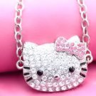 LARGE SILVER CRYSTAL HELLO KITTY bling FACE PINK NECKLACE women's accessory girls