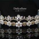 WEDDING BRIDAL CRYSTAL GOLD-PLATED TIARA HEADBAND women's accessory