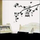 black - WALL VINYL DECO STICKER BIRD &TREE Wall Paper Art decal interior home design