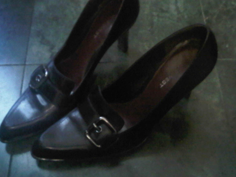 NINE WEST BLACK PUMPS HEELS DRESS SHOES WOMEN'S 8.5 LEATHER CLOTHES ACCESSORY