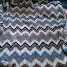 vintage B full queen size hand-knit knitted blanket throw ivory blue brown nude color home accessory