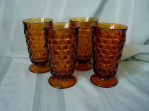 lot set 4 GOBLET Fostoria American Amber brown glass vintage cup glass glassware family home 1950s