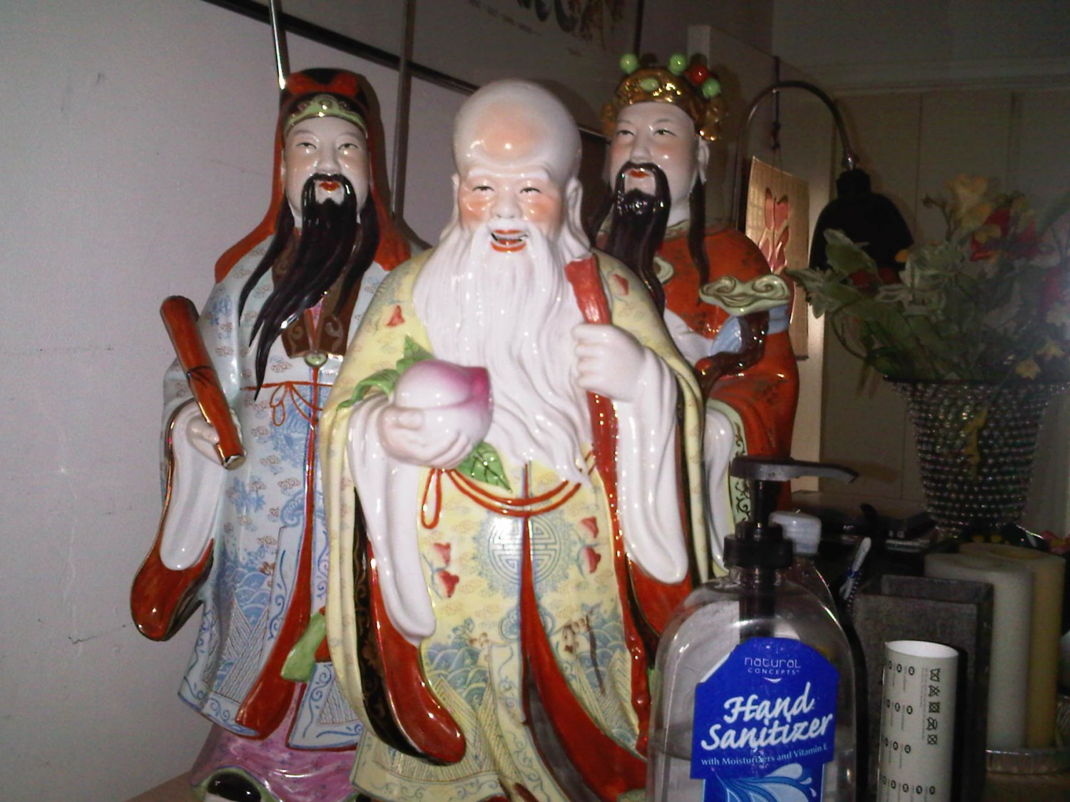 AS-IS 3 LOT VINTAGE CHINESE STATUE GOD WISDOM MONEY WAR COLLECTIBLE FIGURINE HONG KONG